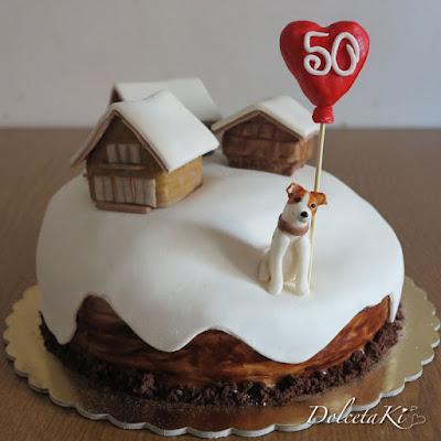torta baita cane e neve