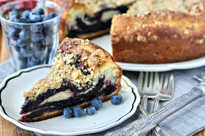 Blueberry Brioche Coffee Cake with Oat Streusel Topping