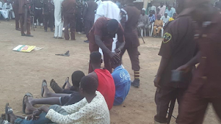 Alleged Thieves Got their Hairs shaved off after been caught in Kano 2