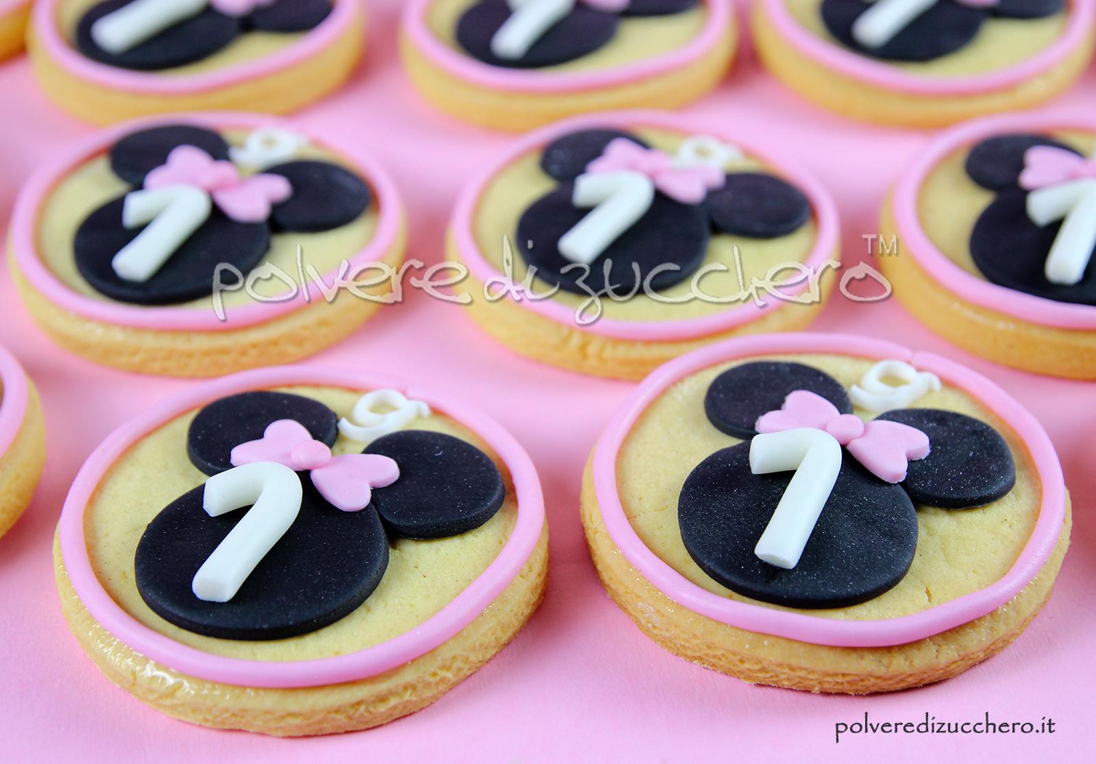 Biscotti in pasta frolla decorati con pasta di zucchero con baby Minnie per il 1° compleanno di una bimba