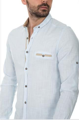 camisas de cuello mao para hombre