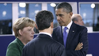 German Chancellor Angela Merkel, French President Nicolas Sarkozy and U.S. President Barack Obama