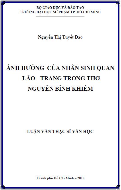 Ảnh hưởng nhân sinh quan của Lão - Trang trong thơ Nguyễn Bỉnh Khiêm