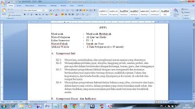 RPP Qur'an Hadits Kelas 2 MI Kurikulum 2013