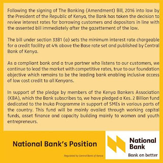National bank nbk press release on new interest rates