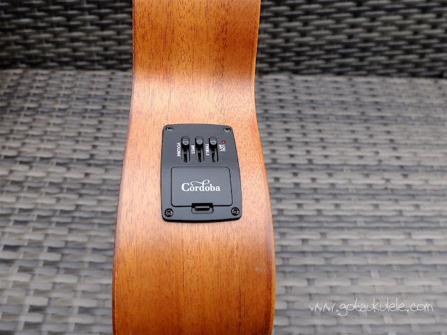 Cordoba 20TM-CE Tenor Ukulele pickup controls