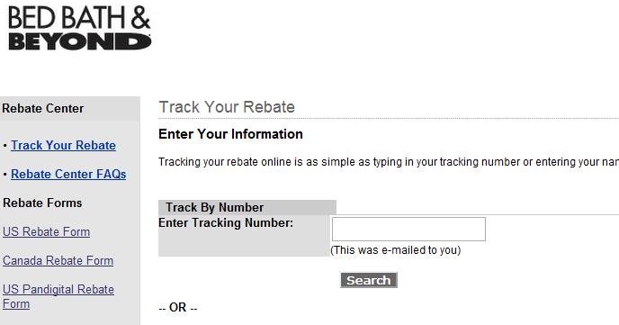 Www Bedbathrebates Com Track Your Rebate Online
