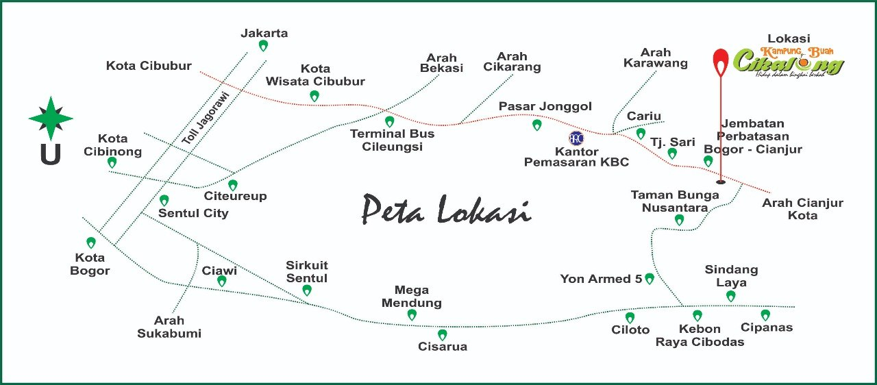 Peta lokasi Kampung Buah Cikalong (KBC)