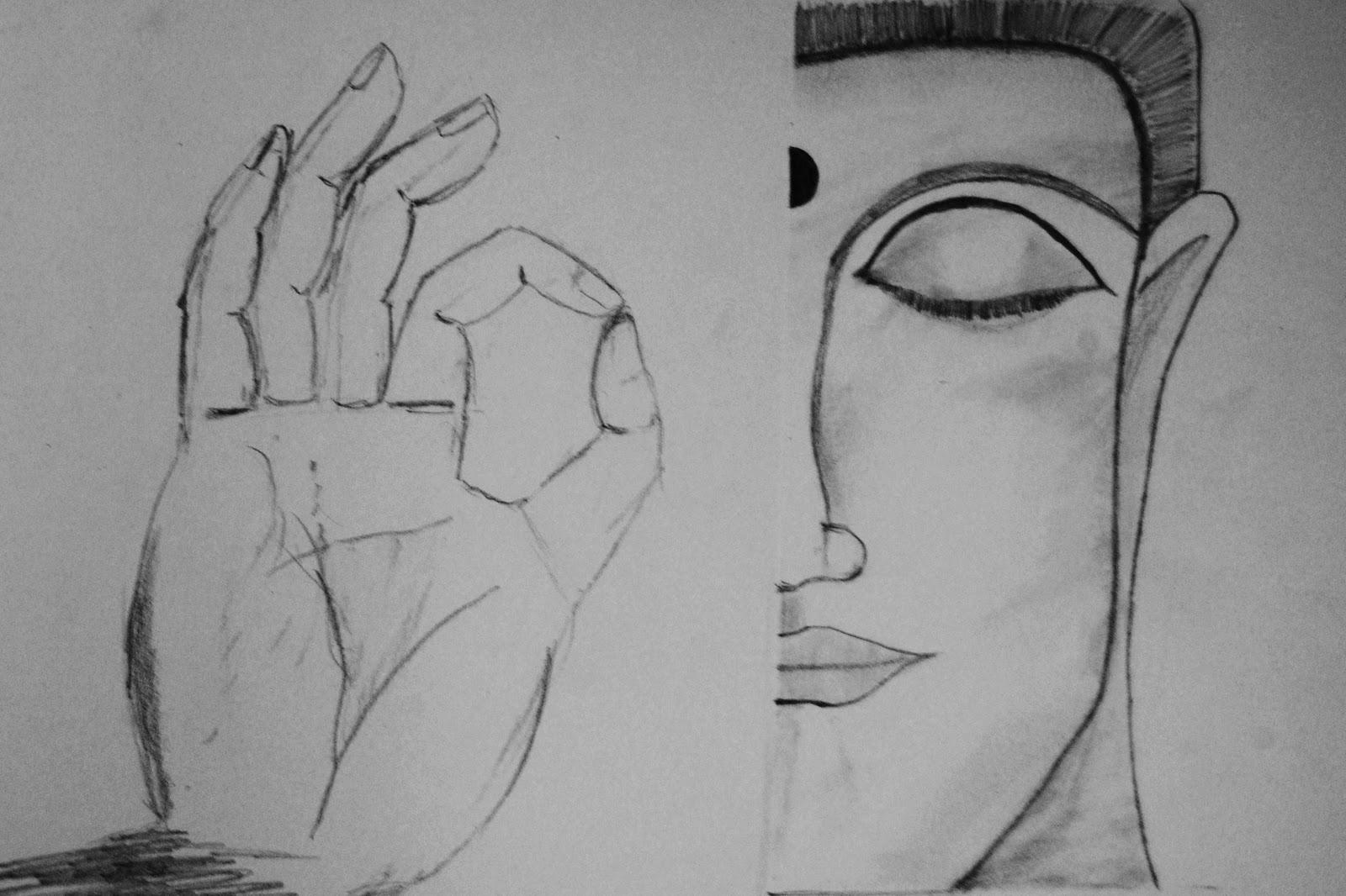 Buddha a pencil sketch 2