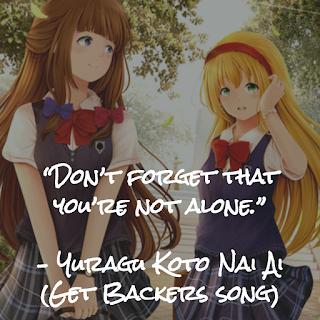 yuragu koto nai ai, unshaken love, tamura naomi, get backers, anime, manga, don't forget that you're not alone