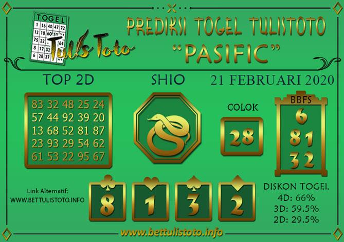 Prediksi Togel PASIFIC TULISTOTO 21 FEBRUARI 2020