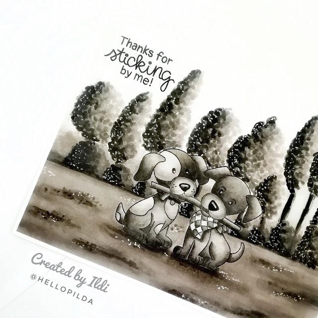 Thank You Card Duo by July Guest Designer Ildi Imrefalvi | Puppy Pals Stamp Set by Newton's Nook Designs #newtonsnook #handmade