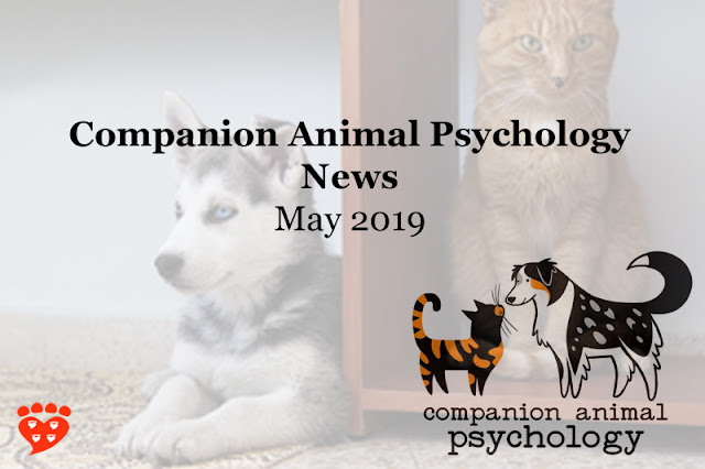 Companion Animal Psychology News May 2019;  photo shows banner