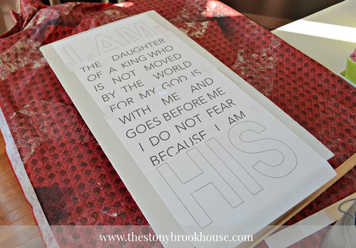 Printed words as stencil