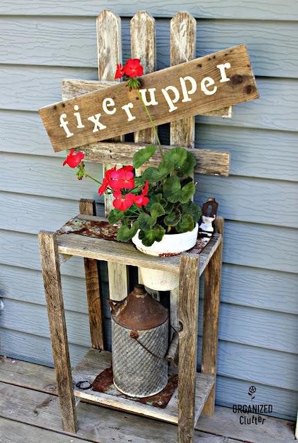 A Junk Garden Fixer Upper Plant Stand www.organizedclutter.net