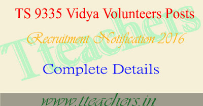 TS Vidya Volunteers VVs 9335 Posts Recruitment Notification