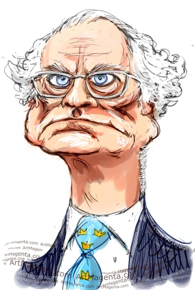 En karikatyr av Carl XVI Gustaf tecknad av illustratören Artmagenta.