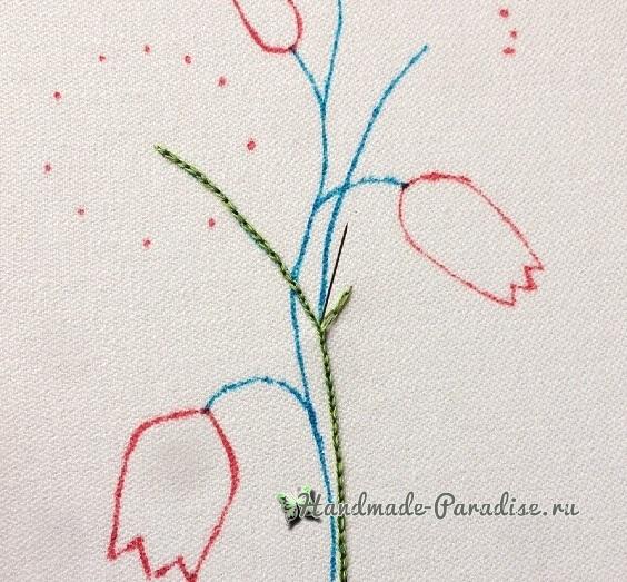 Мастер-класс. Объемная вышивка тюльпаны (6)