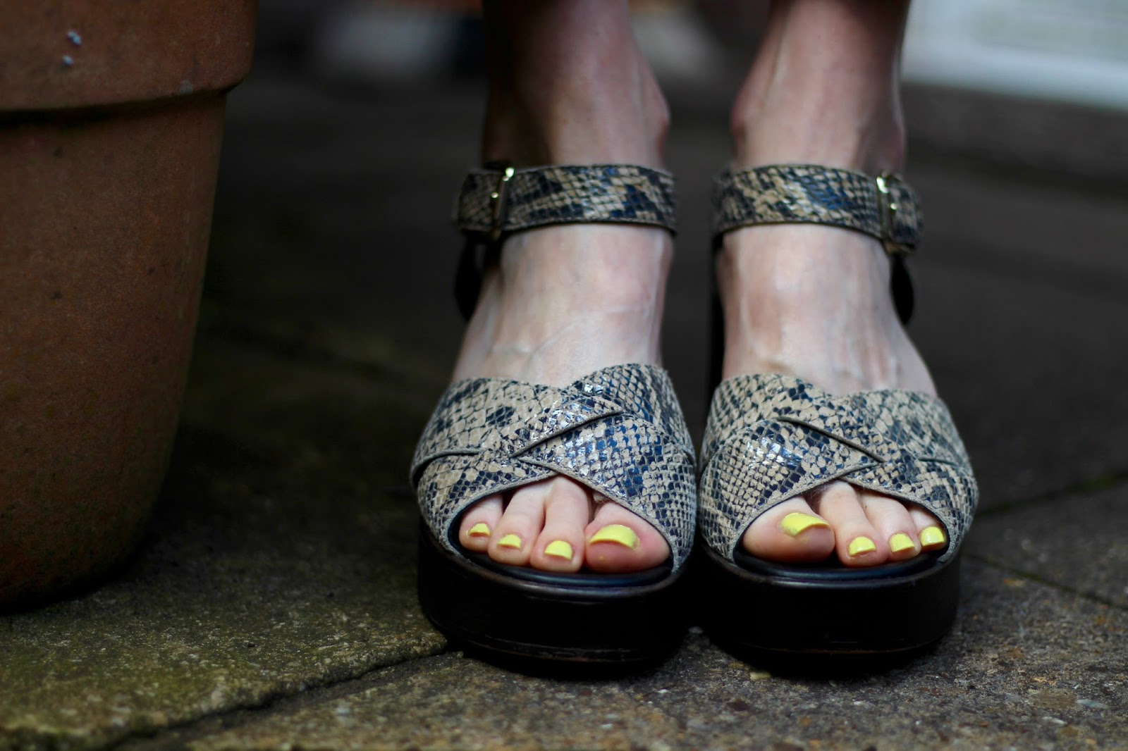 Striped Zara Culottes, Chunky Sandals & Florals, over 40   Fake Fabulous