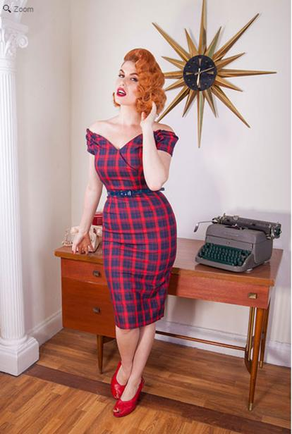 Fatale Red & Navy Tartan Pencil Dress - The Pretty Dress Company