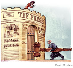 cartoon of a judge using his gavel to knock down the reporter's castle