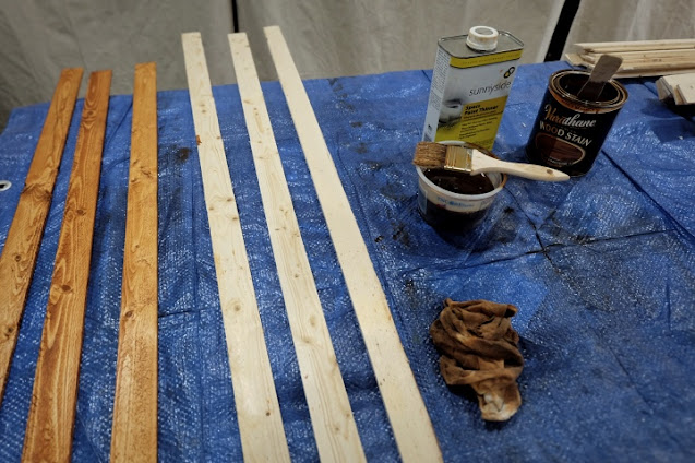 staining wood lath strips