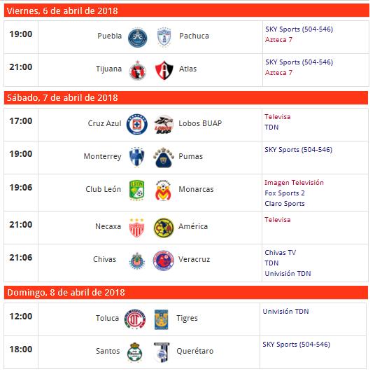 Cartelera de partidos de la jornada 14 del futbol mexicano