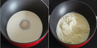 sugar and milk powder added to milk