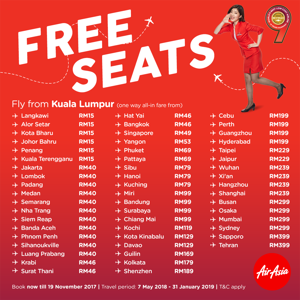 AirAsia FREE Seats Promo Ticket Price List Booking Until