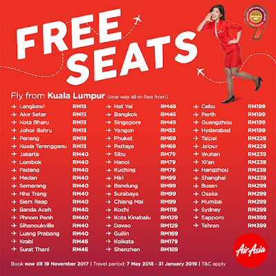 AirAsia Free Seats Promo Price List
