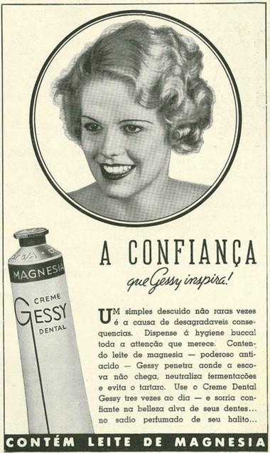 Propaganda do Creme Dental Gessy para atribuir confiança no seu consumo na metade anos 30