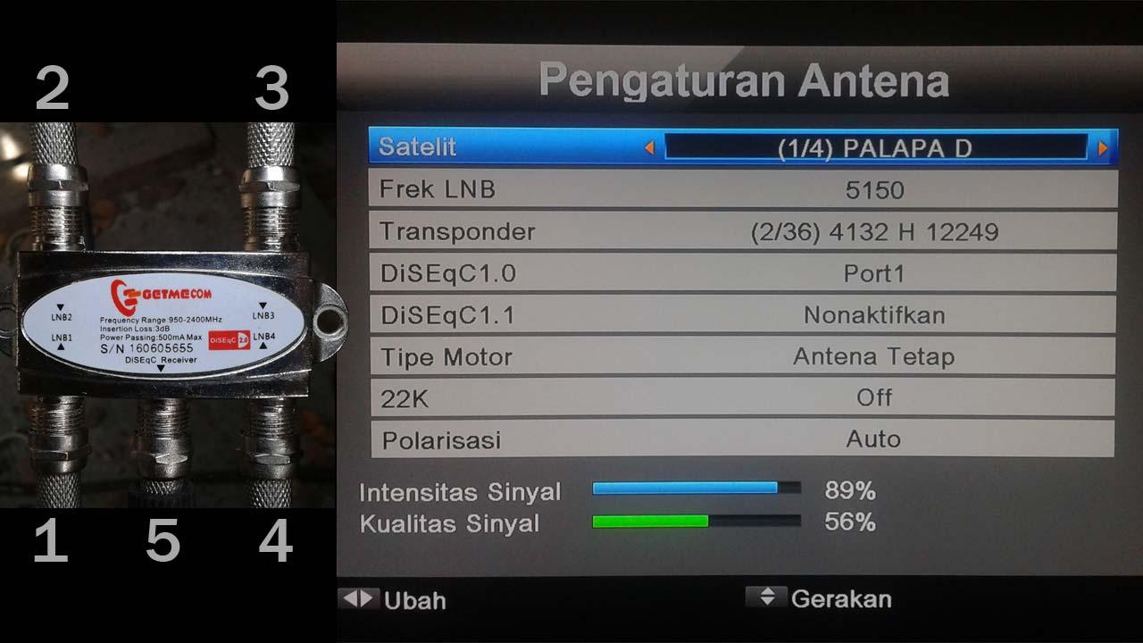 Pengaturan Antena Parabola 4 LNB Receiver Matrix Sinema