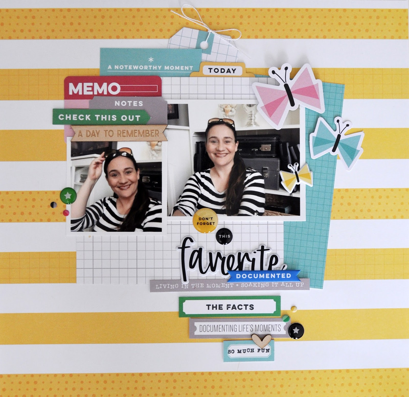 "Elle's Studio Noteworthy Scrapbooking Layout and Process video by Jen Gallacher for www.jengallacher.com. Watch this scrapbooking process video to learn how to create this charming ""Noteworthy"" layout from Elle's Studio. #noteworthy #ellesstudio #jengallacher #scrapbooking"