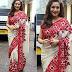 White and Red Sari By Manish Malhotra