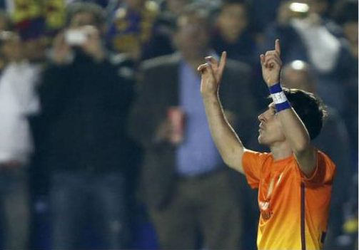 reputable site 48561 9931d Lionel Messi's Celebration in Barcelona's new orange yellow ...