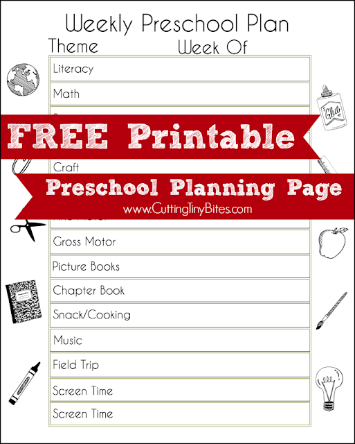 Weekly theme preschool planning page. Great free printable to help plan your homeschool pre-k week!