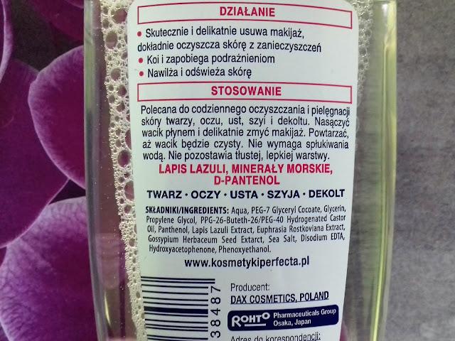 Perfecta kojąca woda micelarna moc minerałów cera wrażliwa alergiczna i sucha