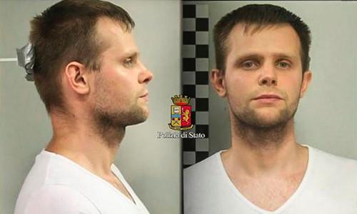 Nghi phạm Lukasz Herba, quốc tịch Ba Lan 30 tuổi, sống ở Anh. Ảnh: Polizia di Stato.