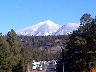 distant snowy mountain flagstaff