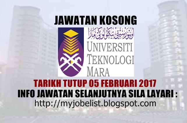 Jawatan Kosong Universiti Teknologi MARA (UiTM) Februari 2017