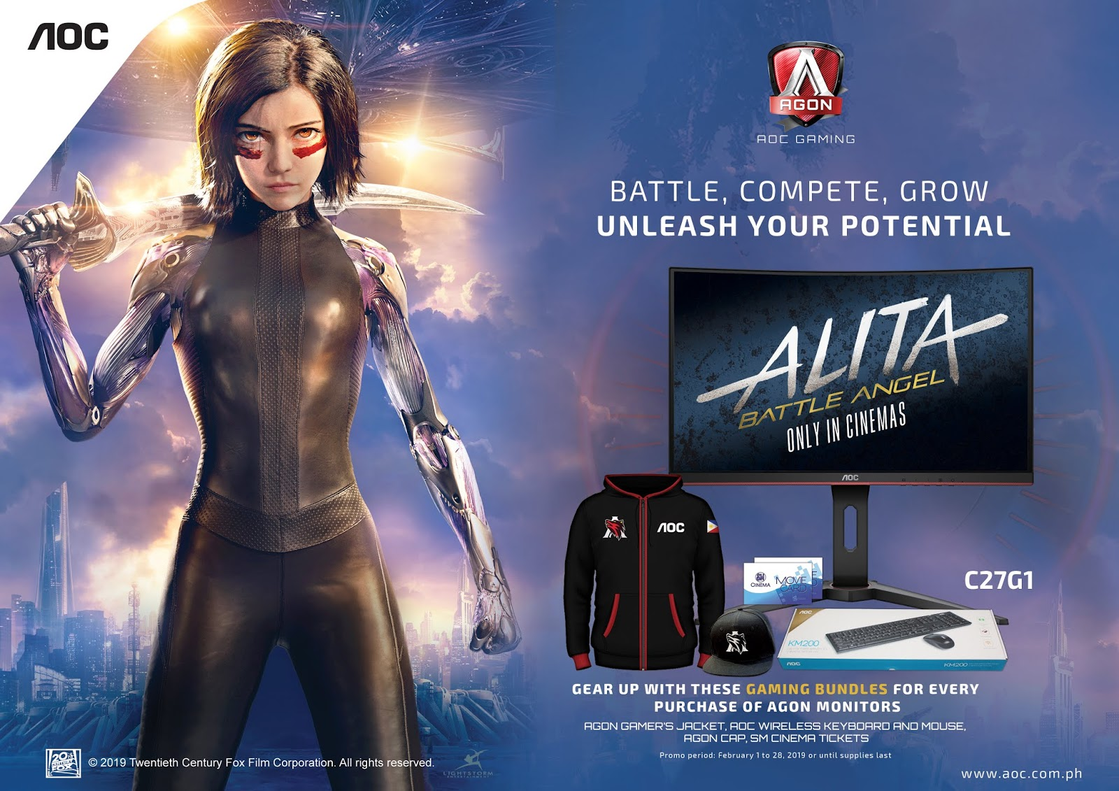 Snag this Gaming Bundles for every purchase of Agon Monitors as AOC partners with Twentieth Century Fox for Alita: Battle Angel