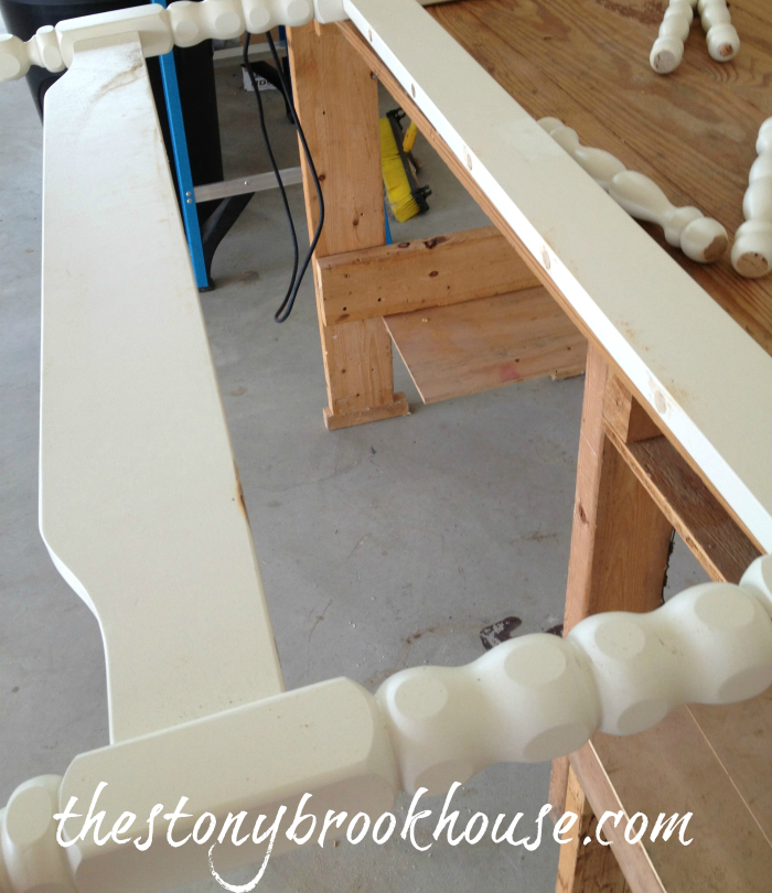 Cut spindles out of headboard