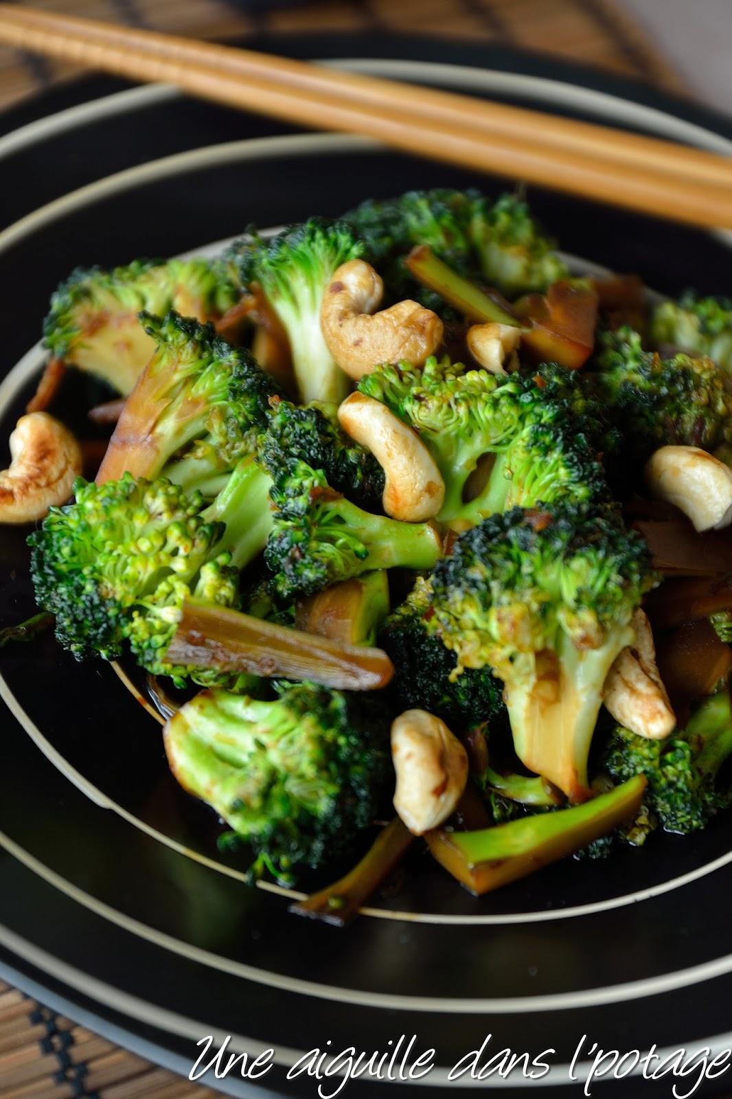 une aiguille dans l 39 potage wok de brocolis au gingembre et noix de cajou. Black Bedroom Furniture Sets. Home Design Ideas
