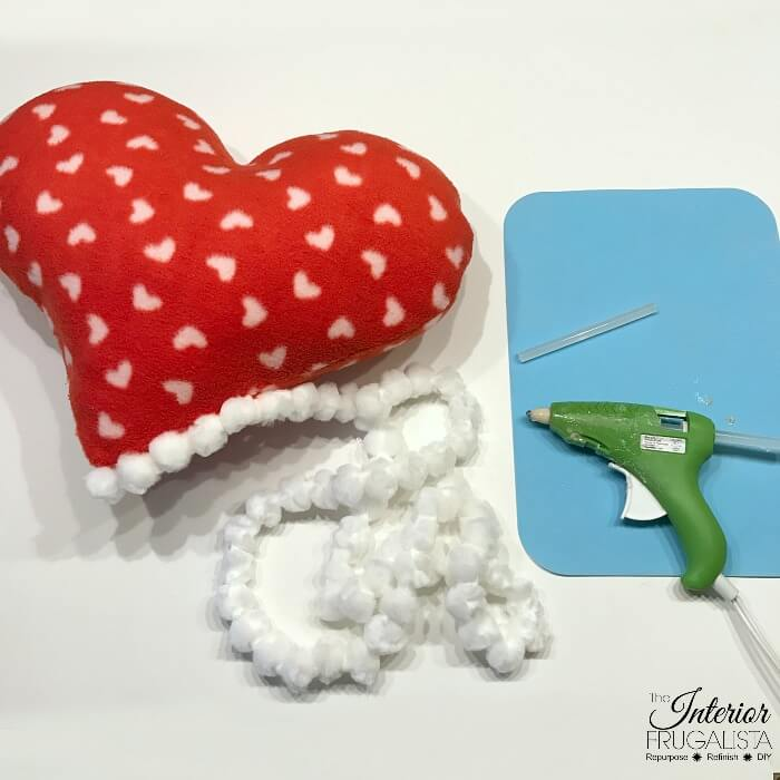 Fleece Heart Pillow With Pompom Trim