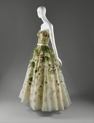 "Summer print House of Dior evening dress named ""May"" displayed on mannequin"