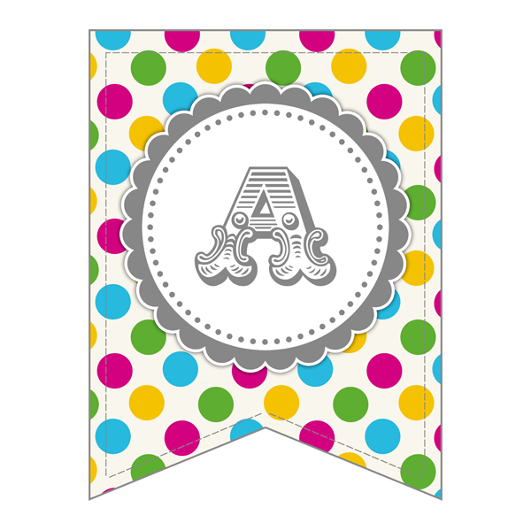This complete set of letters for a polka dot banner is perfect for a baby shower or kids party