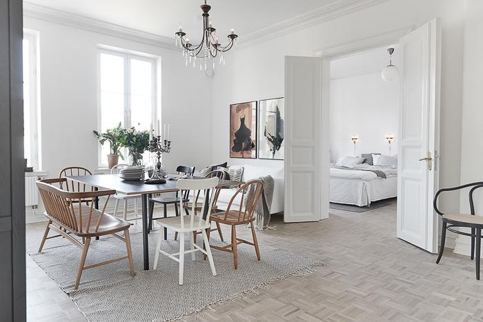 Apartamento de Estilo Nórdico en color Blanco y Gris