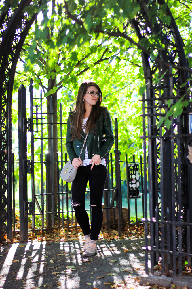 Fall Fashion | Green Leather Jacket & Stripes