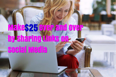 Now, here how you will be making money just by sharing links with your followers, you will earn you $25 over and over again. Every time someone uses your link to buy something. This is so simple and it doesn't require much work and can make money while you sleep.
