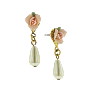 1928 Jewelry Pink Porcelain Rose Pearl Drop Earrings | fashion, inspiration, aesthetic, accessories, jewelry, wish list, shopping, victorian, baroque, rococo, vintage, bohemian, romantic, feminine, aesthetic, roses, flowers | Allegory of Vanity